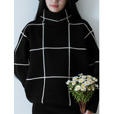 Casual Loose Women Checkered Turtleneck Long Sleeve Knit Sweater