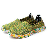 US Size 5-11 Women Hand-made knitting Shoes Casual Comfortable Breathable Camouflage Flats Shoes