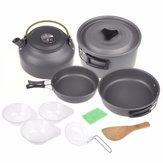2-3 Person Backpacking Picnic Cookware Cocinar Olla de cocinar Juego de tazón cámping Senderismo al aire libre herramientas