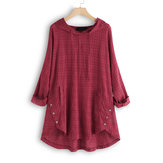 Plus Size Plaid Hooded Long Sleeve Button Irregular Blouse