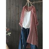 Mujer Blusa de manga larga con cuello redondo y botones a cuadros