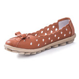 New Women Breathable Soft Comfortable Hollow Out Leather Flat Slip-On Shoes