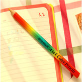 4 In 1 Rainbow Colored Pencil Wooden Made Artist Drawing Writing Sketching