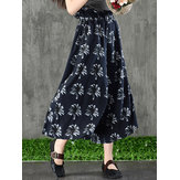 Original Women Vintage Floral Print High Waist Wide Leg Pants
