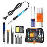 EU Plug 220V 60W Adjustable Temperature Electric Soldering Iron Kit+5pcs Tips Portable Welding Repair Tool