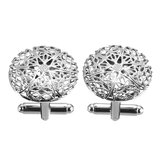Men Copper Silver Vintage Gentleman's Wedding Gift Hollow Out Pattern Cufflinks