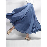 Women Cotton Elastic Waist Long Maxi Skirts