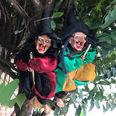 31cm Halloween Hanging Animated Talking Witch Props Laughing Sound Control Decorations