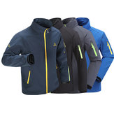 Mens Waterproof Stand Collar Outdoor Sport Jacket Breathable Climbing Spring Embroidery Coat