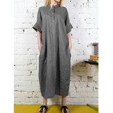 Col montant bouton chemise longue robe maxi de couleur unie