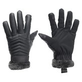 Winter Men Driving Bike Anti Slip Gloves Thermal PU Leather Touch Screen Gloves