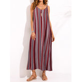 Plus Size Sexy Women Loose Stripe Backless Long Dress