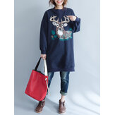Winter Loose Animal Print Warm Long Sleeve Women Sweatshirts