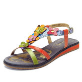 Original SOCOFY Genuine Leather Soft Flat Sandals