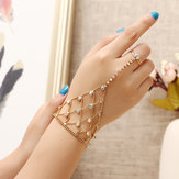 JASSY® 18K Gold Plated Colorful Rhinestone Palm Bracelet