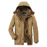 Mens Thick Fleece Winter Hooded Outdoor Solid Color Jacket