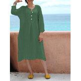 Original Vinatge Women Cotton Loose Crew Neck Long Sleeve Dress