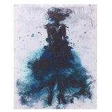 Peinturesàl'huiledetoiled'art minimaliste d'art abstrait de fille verte encadrée / sans cadre
