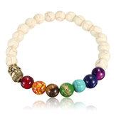 Unisex White Stone Agate Colorful Beads Prayer Elastic Bracelet