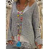 Irregular Pure Color V-neck Loose Baggy Long Sleeve Sweaters