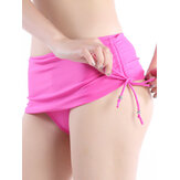 Women Sexy Drawstring Beads String Breathable Elastic Beachwear Swimming Shorts