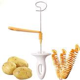 1pc3cuerdasRotarlarebanadora de patata Cortador de rebanadas de patata torcida de acero inoxidable y plástico Espiral DIY Manual Creative