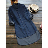 Women Casual Adjustable Sleeves Lapel Denim Shirts