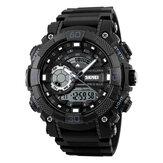 SKMEI 1228 Double affichage multifonction quartz numérique 50M imperméable chronographe LED montre