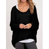 Casual Women Pure Color Crew Neck Long Sleeve Blouse