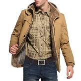 Veste de coton extérieure chaude à capuchon pour hommes en velours épais