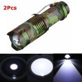2Pcs Camouflage MECO Q5 500LM Multicolor Zoomable Mini LED Flashlight 14500/AA