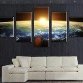 5 Cascade Sunset Space Canvas Peinture murale Décoration intérieure sans cadre, y compris installation