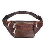 Outdoor Pu Leather Waist Bag Zipper Chest Sports Handbag Shoulder Bag