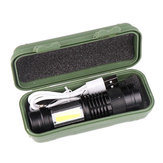 XANES SK68 LED+COB 3Modes Front + Side Light USB Rechargeable Zoomable Mini LED Flashlight Suit