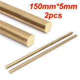 2pcs 150mm x 5mm Brass Rod Bar Hardware Solid Round Rods