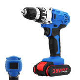 36V Cordless Power Drills Set Double Speed Electric Screwdriver Drill W/ 1 or 2 Li-Ion Battery