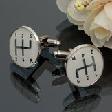Men Male Silver Number Pattern Round Baking Finish Cuff Links Wedding Gift Suit Shirt Accessories