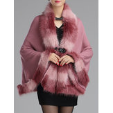 Elegant Warm Bats Sleeve Women Faux Fur Coats