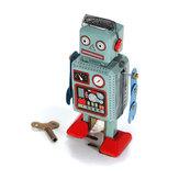 Vintage Nostalgic Wind Up Tin Toy Clockwork Spring Robot Reminiscence Toys With Key