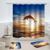 DelfínPatrónCortinadeduchaImpermeable Tela Baño Accesorio Impresión 3D Cortina Océano para Cuarto de baño Verde
