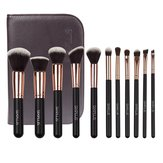 SIXPLUS 11 Pcs Makeup Brushes Set Tools Cosmetic Brush Holder Bag Face Foundation Make Up Sleeve Kit