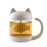 250ML Cat Glass Tea Mug Filter Cup with Fish Tea Infuser Strainer Home Office Drinkware Coffee Milk Mug Creative Birthday Gifts