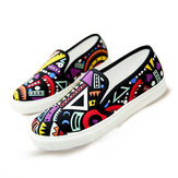 Women Casual Graffiti Canvas Shoes Platform Flat Loafers Breathable Printed Shoes