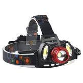 XANES 2305 1200 Lumens T6 + 2xCOB Vélo Phare Mécanique Zoom Réglable Tête Lumière