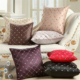 17'' Square Embroidered Pillow Case  Home Decor Grid Waist Throw Cushion Cover