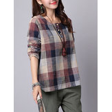 S-5XL Casual Dames Plaid Prinred Button-shirts