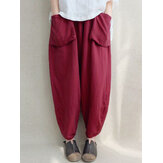 Women Solid Pockets Casual Loose Harem Pants