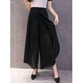 Original Mujer cintura elástica gasa dividida pierna ancha Pantalones