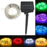 22M 150 LED Solar Powered Silver Wire String Fairy Light For Outdoor Holiday Decor +7m Down-lead