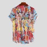Original Camisas de bolsillo de verano de impresión de múltiples colores para hombre